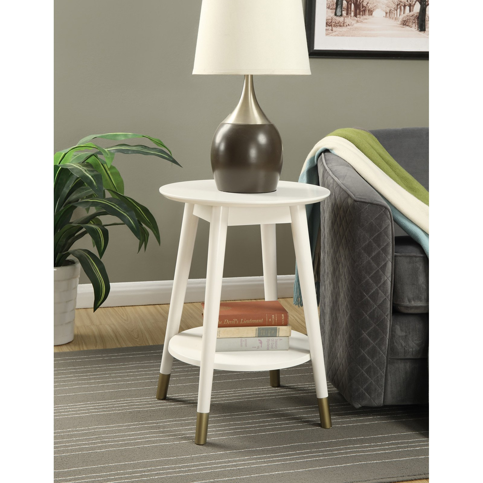 Convenience Concepts Wilson Mid-Century Round End Table with Bottom Shelf
