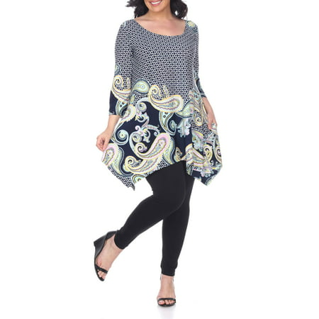 Women's Plus Size Three Quarter Sleeve Paisley Tunic Top With Print