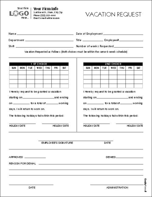employee vacation request forms