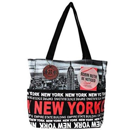 robin ruth ny skyline canvas tote shoulder small bag black white red ()