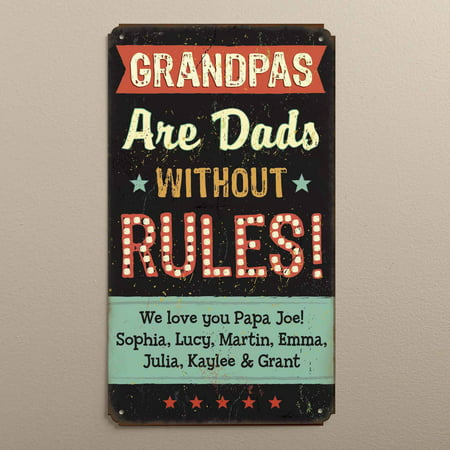 Personalized Tin Sign - Grandpas Are Dads Without Rules