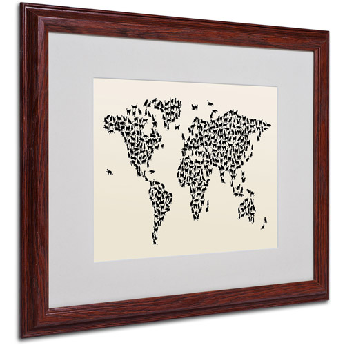 "Trademark Fine Art ""Cats World Map 2"" Matted Framed Art by Michael Tompsett"