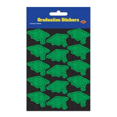 Prismatic Grad Cap Stickers 4.75 x 7.5in - Green 4ct