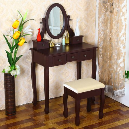 Cherry Shabby Vanity Makeup Dressing Table With 5 Drawers Mirror Stool Bedr