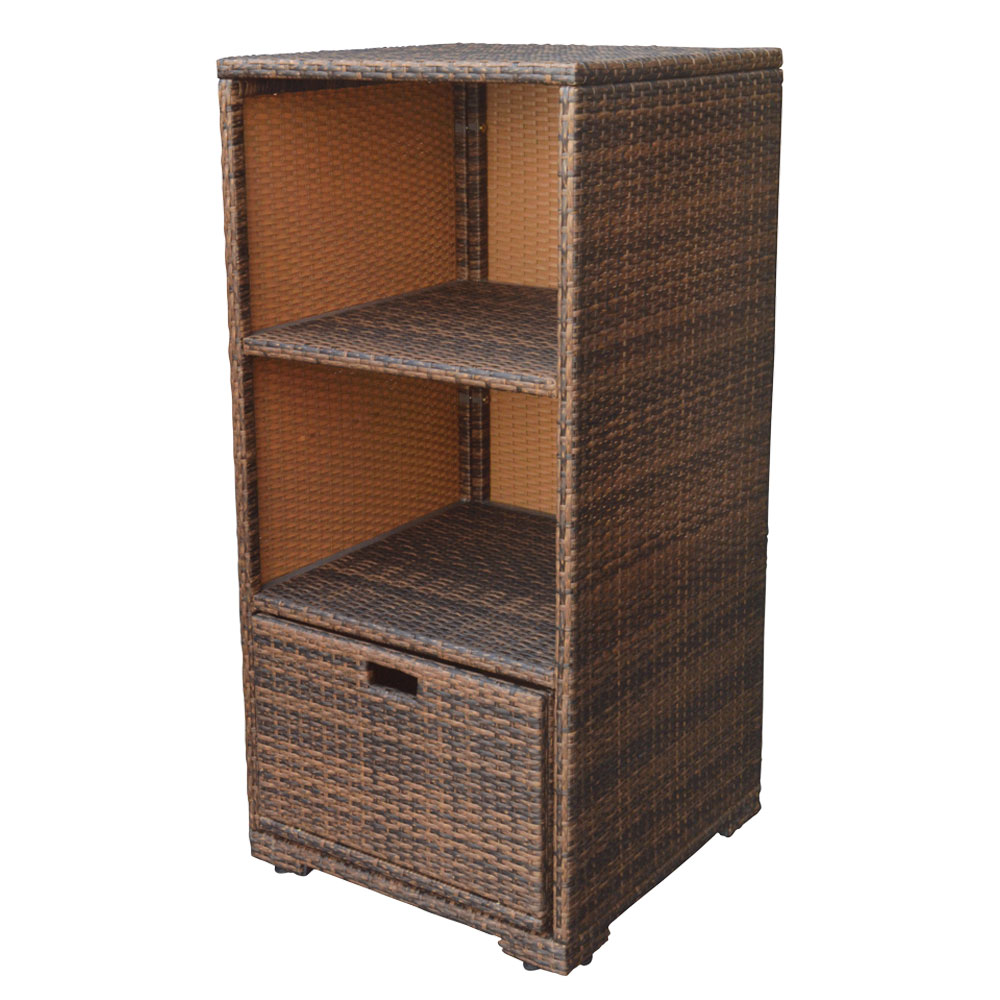Espresso Wicker Rattan Storage Cube Towel Storage Dish Rack Serving Table Bathroom Cabinet by PROLINEMAX