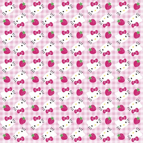"Springs Creative Gingham ""Hello Kitty"" Strawberries on Fabric, 2-Yard Bolt, Pink"