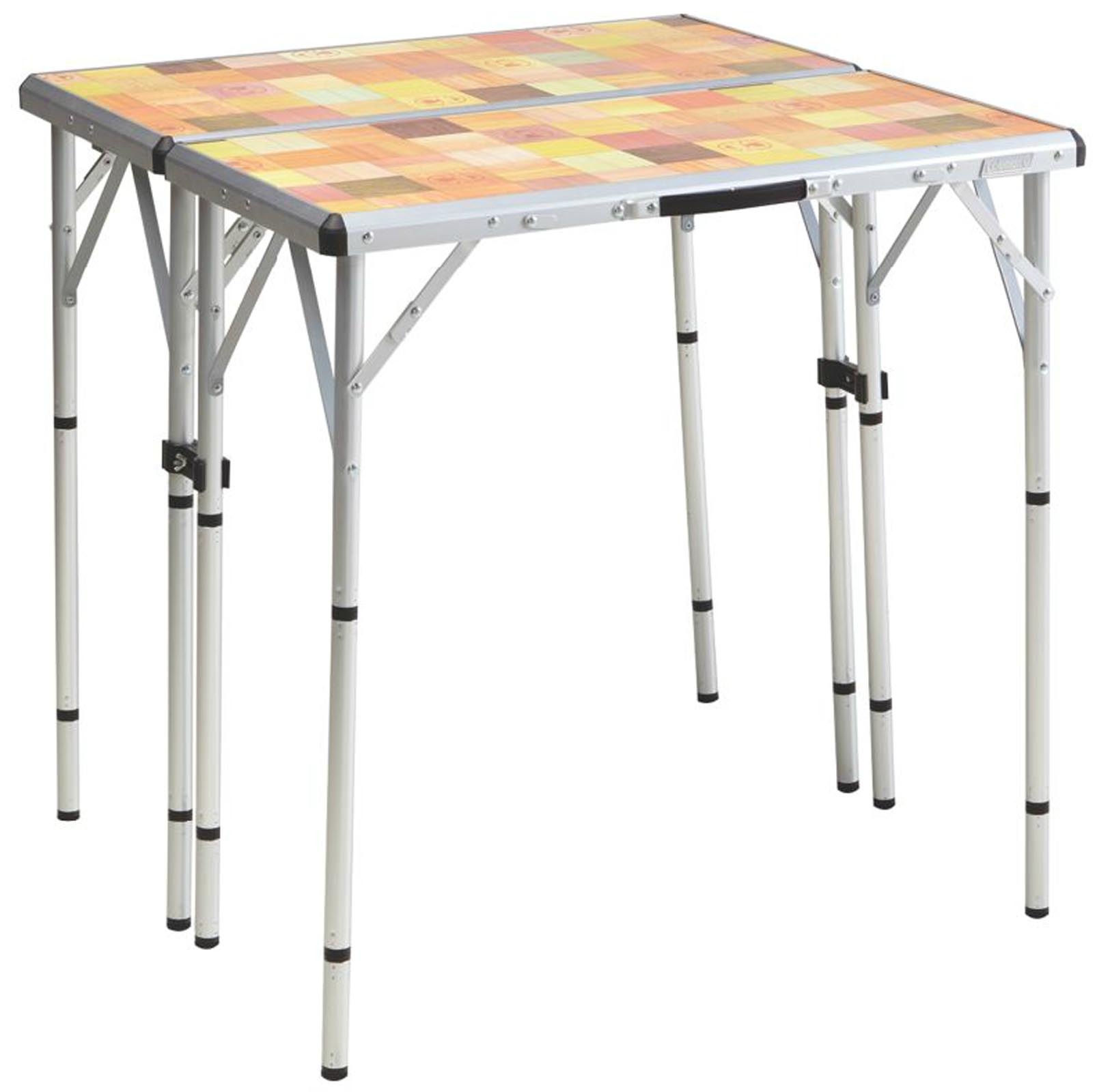 NEW! COLEMAN Pack-Away 4-in-1 Portable Mosaic Camping Tailgating Picnic Table