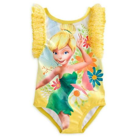 Disney Store Princess Tinker Bell One Piece Swimsuit Bathing Suit Girl Size 4 (Disney Princess Bathing Suit)
