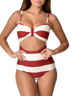 c811e9a610b05 Product Image Women One-Piece Striped Swimsuits Fashion High Waisted  Swimwear