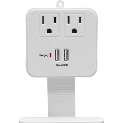 GE 14461 2-Outlet In-Wall Surge Protector with Shelf