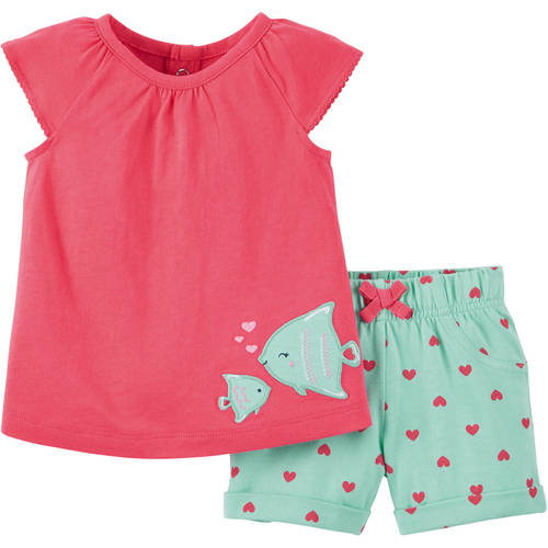 Child of Mine by Carter's Newborn Baby Girl Sleeveless Top and Shorts Outfit Set, 2 Pieces