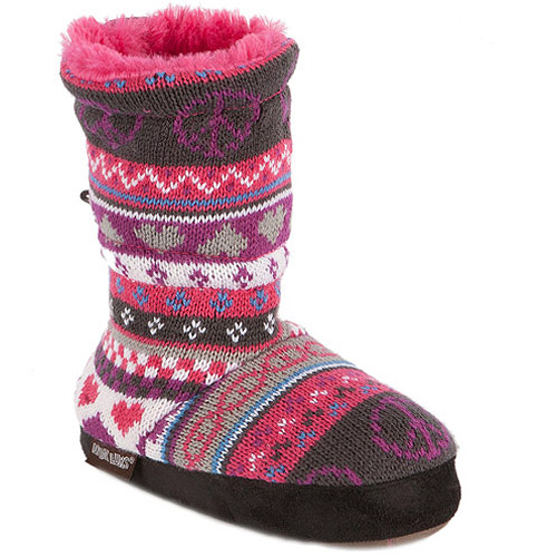 MUK LUKS Ceci Girls' Peace Sign Fur Lined Toggle Slipper Boot