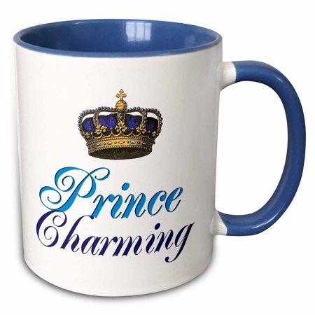 3dRose Prince Charming royal blue cursive script text with gold crown potential part of funny couple gift - Two Tone Blue Mug, 11-ounce ()