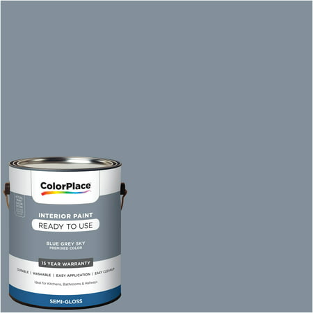 ColorPlace Pre Mixed Ready To Use, Interior Paint, Blue Grey Sky, Semi-Gloss Finish, 1 Gallon ()