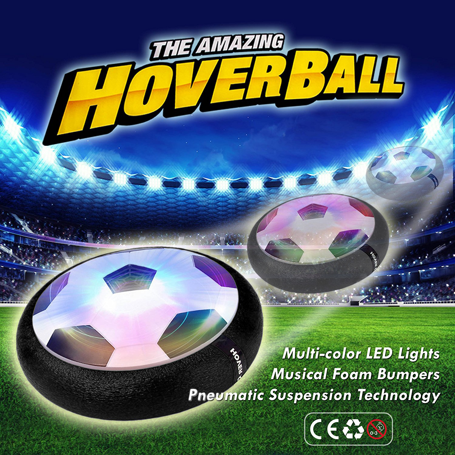 Indoor Toy HOVER BALL, 2-in-1 Hockey Puck or Soccer ball Football Glides with Battery... by