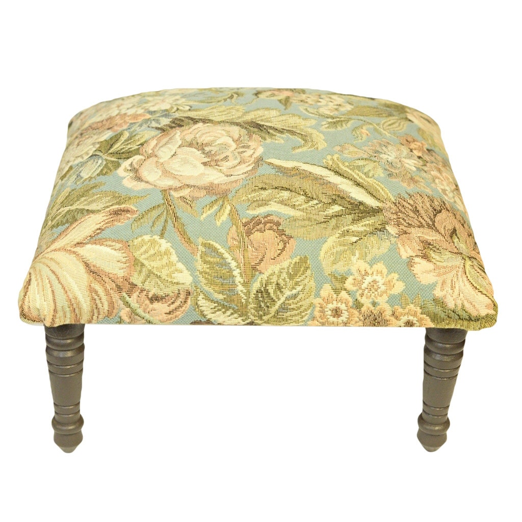 Corona Dcor Corona Decor Flora Design Hand Woven Mint Footstool by Overstock
