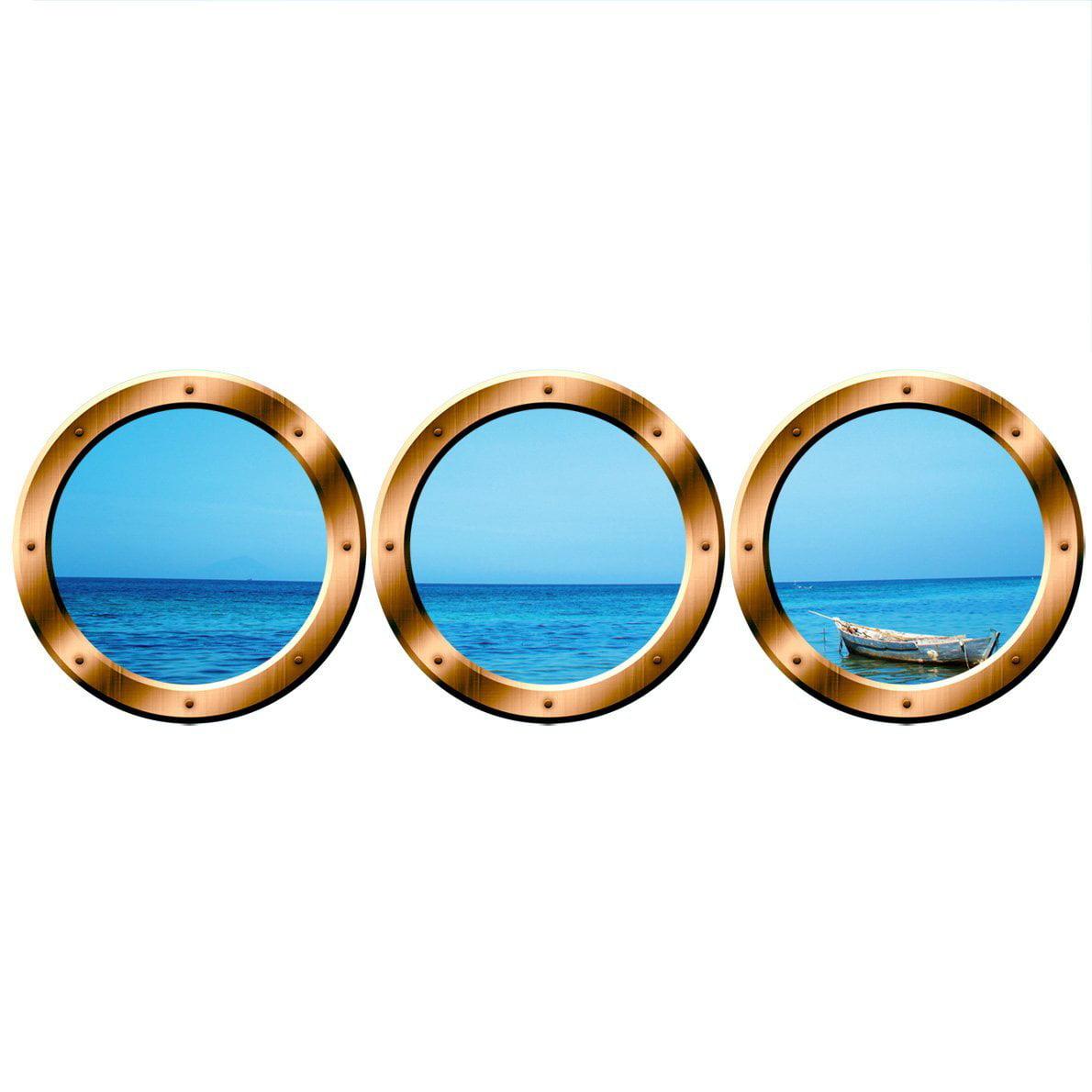 "VWAQ Wall Decal Stickers - Ocean Portholes Decals - Submarine Window VWAQ-SPW1 (24"" Diameter, Bronze)"