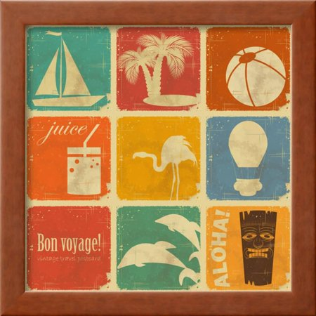 Set Of Vintage Travel Labels Framed Print Wall Art By elfivetrov ...