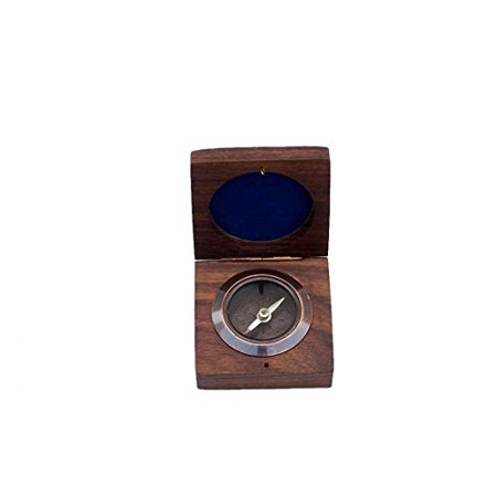 Antique Copper Desk Compass with Rosewood Box 3'' Rosewood Mini Box