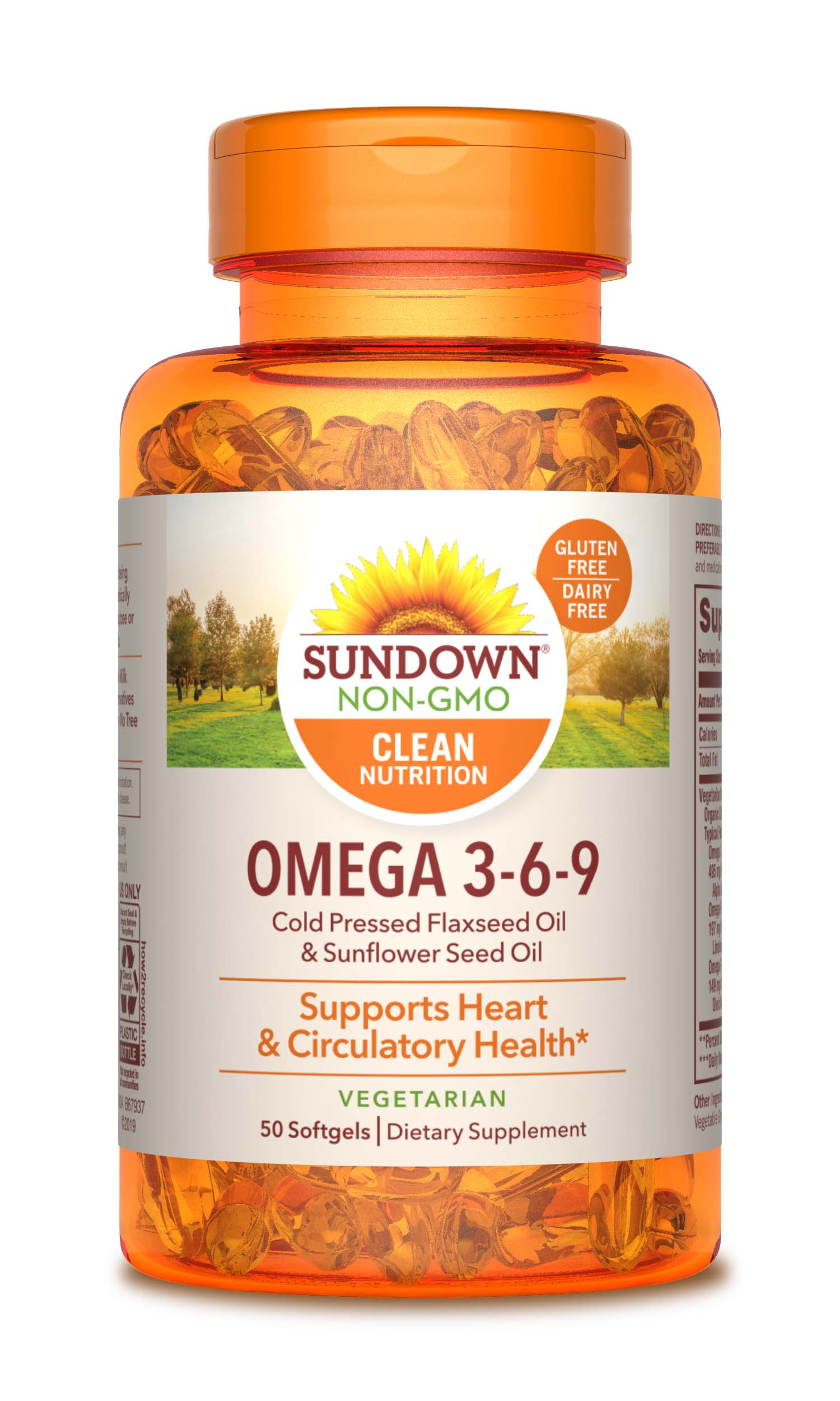 Sundown Naturalsa Vegetarian Omega 3 6 9 495 Mg 50 Softgels