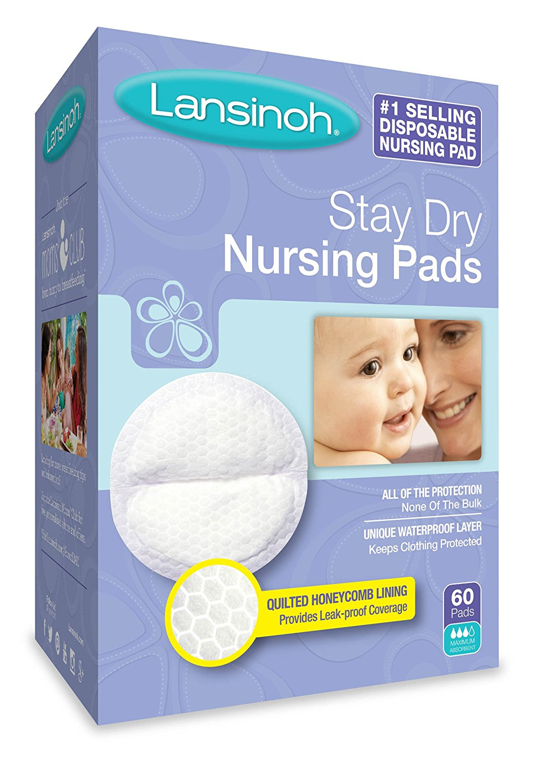 Stay Dry Disposable Nursing Pads, 60 Count Boxes (Pack of 4), USA, Brand Lansinoh by Lansinoh