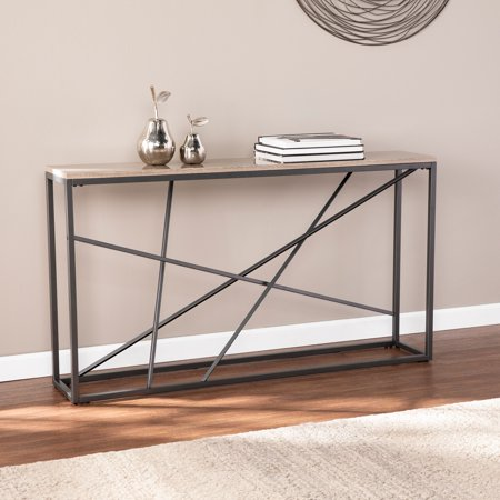 Afetell Faux Stone Skinny Console Table, Gunmetal Gray ()