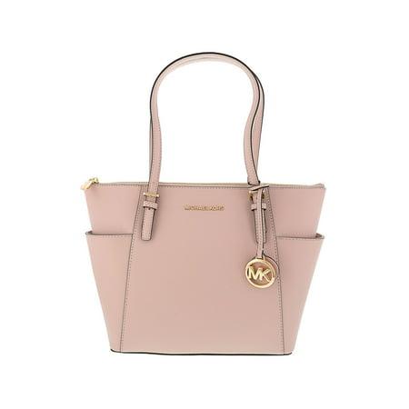 Michael Kors Women's Jet Set East West Top-Zip Leather Shoulder Bag Tote - Soft Pink