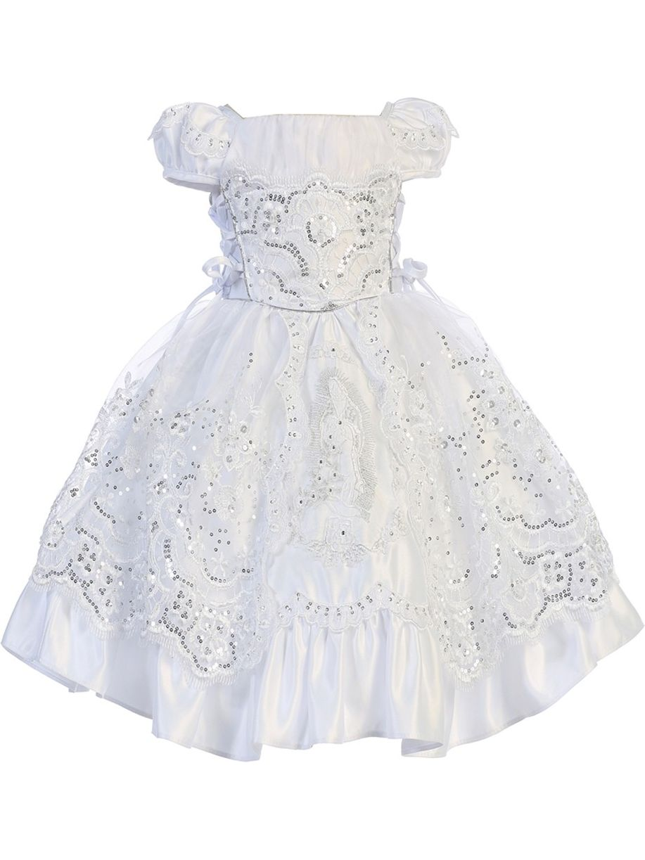 Angels Garment Little Girls White Satin Embroidered Baptism Dress