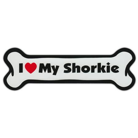 Dog Bone Shaped Car Magnets: I Love My Shorkie (Shih Tzu Yorkshire Terrier)