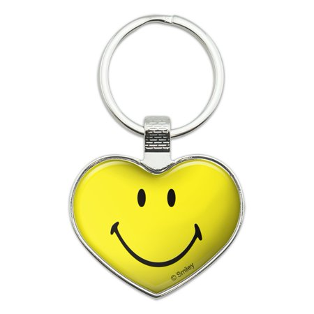 Smiley Smile Happy Yellow Face Heart Love Metal Keychain Key Chain Ring