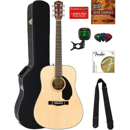 Fender Acoustic Mandolin (Fender CD-60S Dreadnought Acoustic Guitar - Natural Bundle with Hard Case, Tuner, Strap, Strings, Picks, Austin Bazaar Instructional DVD, and Polishing Cloth)