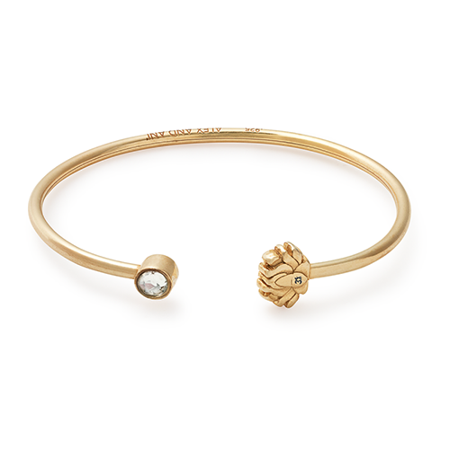 Lotus Peace Petals Cuff Bracelet 14Kt Gold Plated Gold Diamond Cuff Bracelet