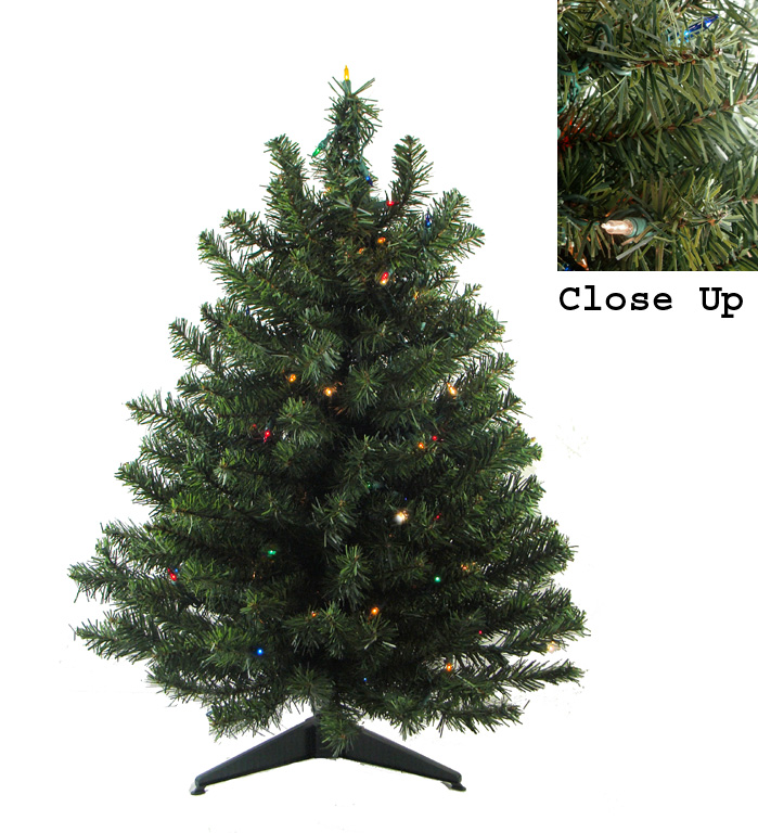 "18"" Pre-Lit Natural Two-Tone Pine Artificial Christmas Tree - Multi-Color Lights"