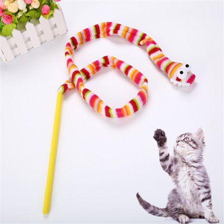 Kitten Cat Pet Toy Chaser Stick Rainbow Snack Streamer Interactive Play Fun Toys