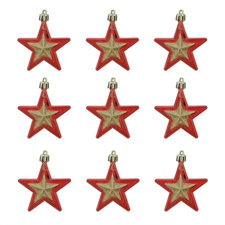 9ct Red and Gold Glittered Shatterproof Star Christmas Ornaments 2.75