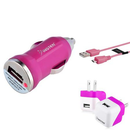 Insten Pink Travel Wall Car Charger Adapter 10ft Cable