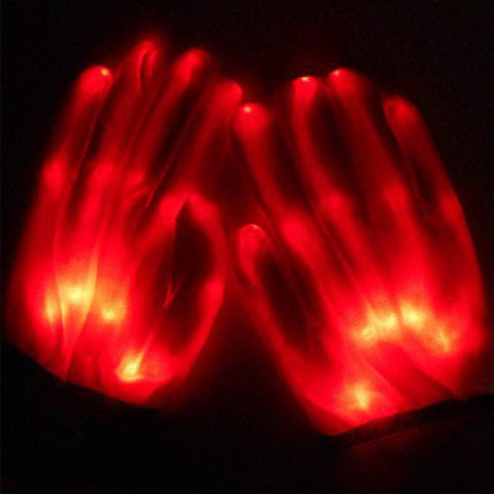 LED Flashing Skeleton Gloves 1 Pair for Christmas Halloween Party