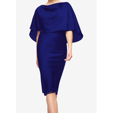 Fame And Partners New Navy Blue Womens Size 10 Pop Over Sheath Dress