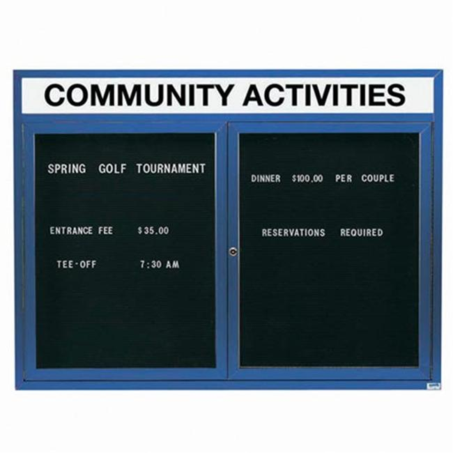 Aarco Products OADC3648HIB 36 inch H x 48 inch W 2-Door Illuminated Outdoor Enclosed Directory Board - Blue