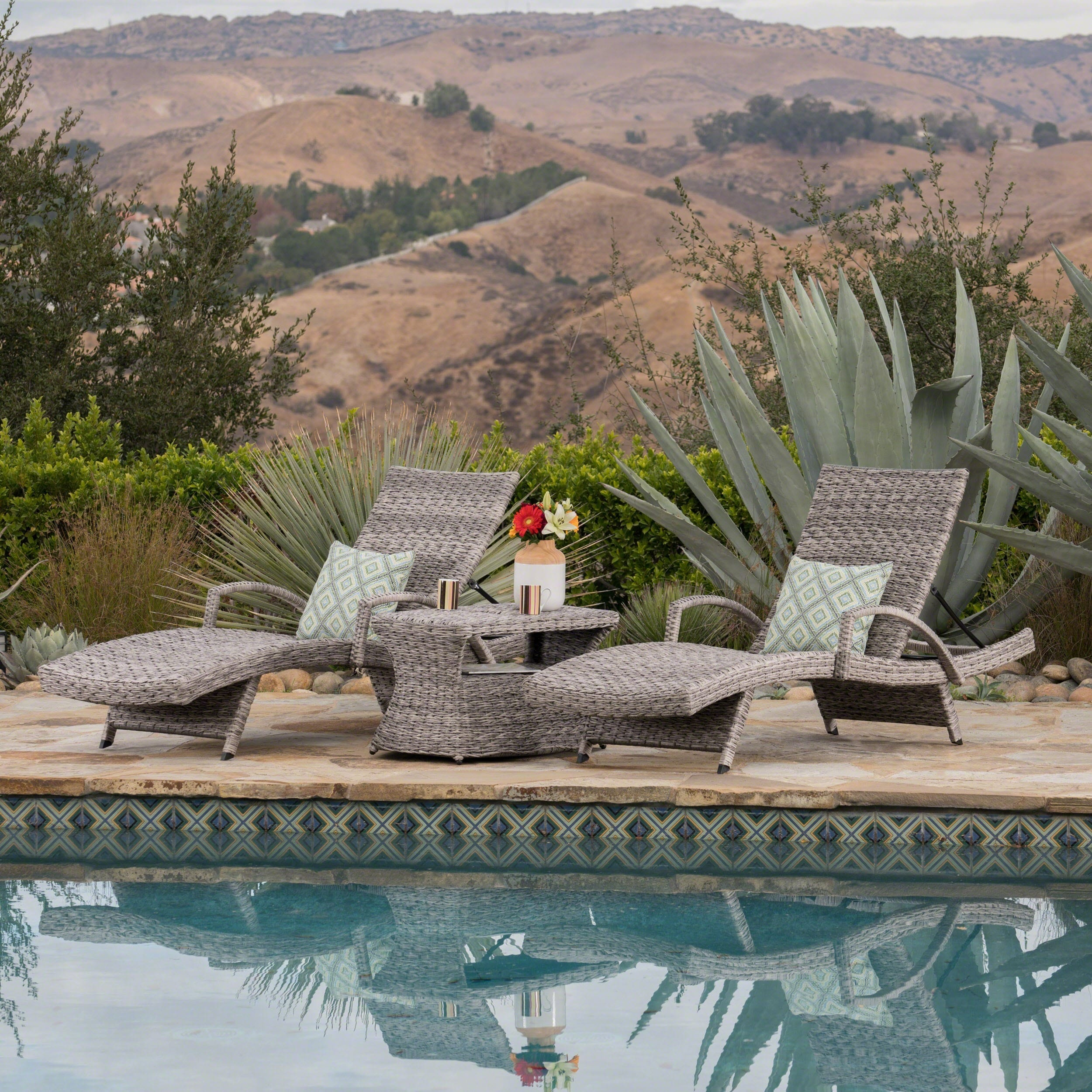 Christopher Knight Home Crete Outdoor 3-piece Armed Aluminum Wicker Chaise Lounge Set by
