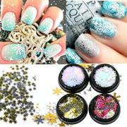 4 Boxes Snowflake Sequins Nail Art Decoration Glitter Set Mermaid Sparkly