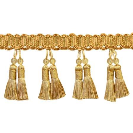 "Elegant 4"" Long Medium and light Gold Beaded Tassel Fringe Style# BTFH4 - Golden Rays 4875 (Sold by The Yard)"