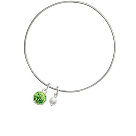 10mm Lime Green Oktant Crystal Drop - Imitation Pearl Bicone Bangle Bracelet - Lime Green Zoot Suit
