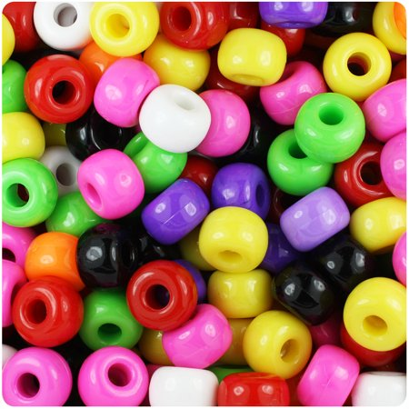 BeadTin Opaque Multi 11mm Large Barrel Pony Beads (250pcs)