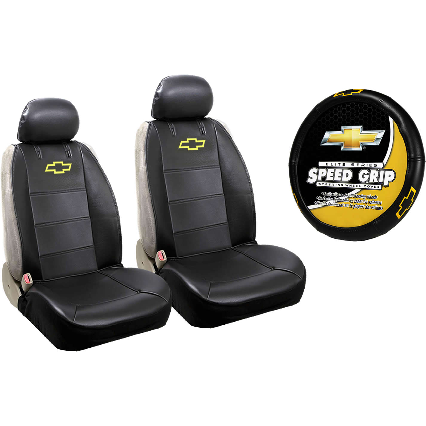 2 Chevy Synthetic Leather Sideless Seat Covers & Steering Wheel Cover Set Car Truck Suv