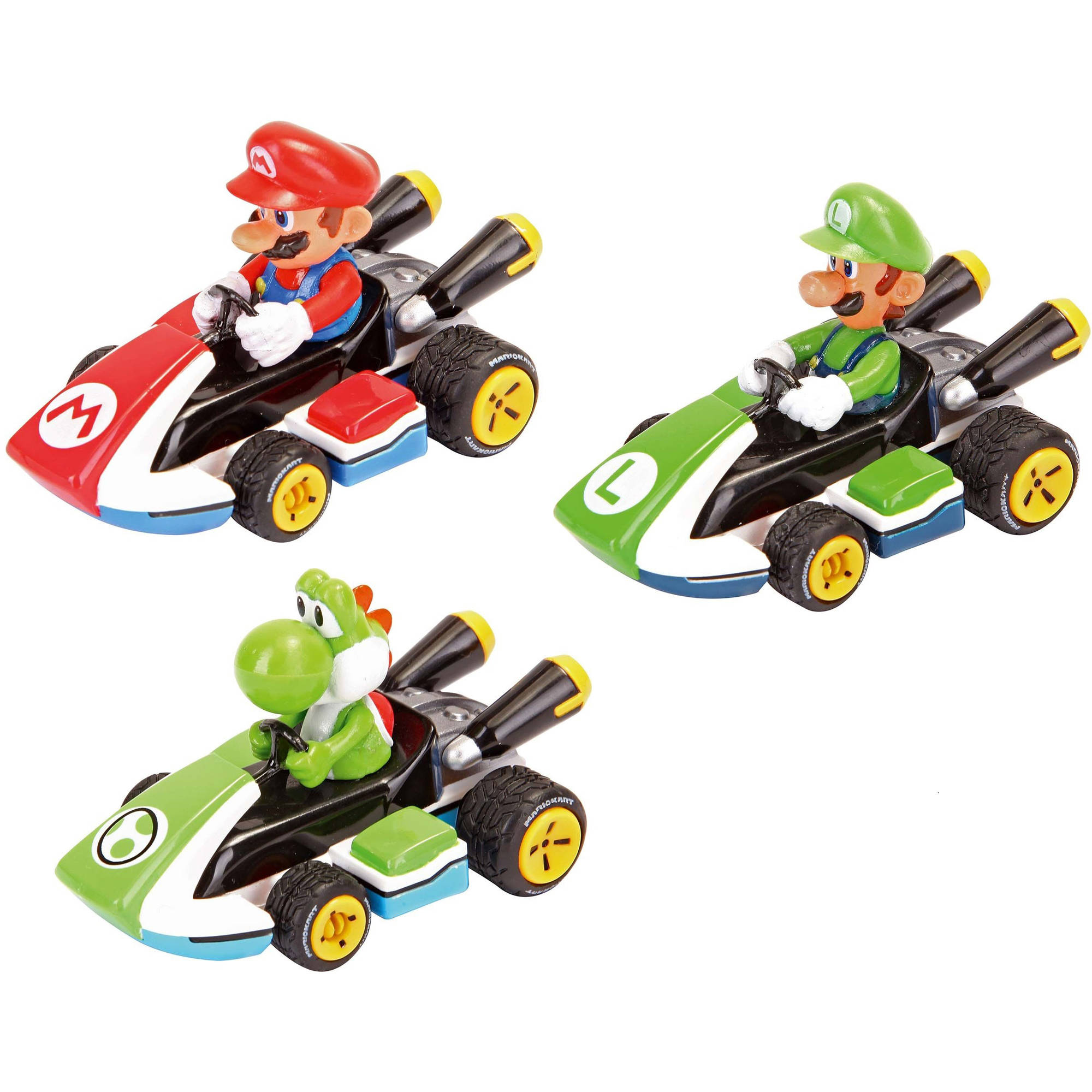 Carrera Pull and Speed Mario Kart 8 3-Pack Racers, Mario, Luigi and Yoshi