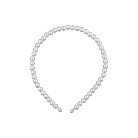 Unique Bargains Faux Pearl Accent Ivory Hair Band Hoop Headband for - Ivory Pearls