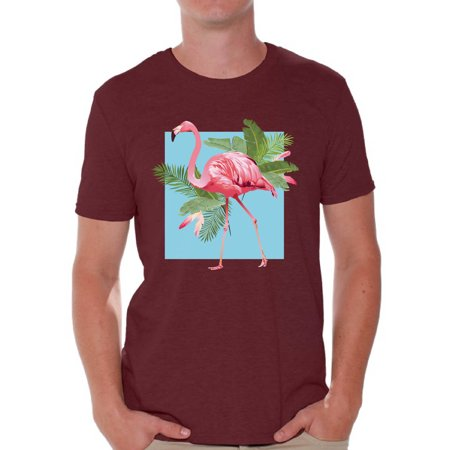 Mens Great Gatsby Outfit (Awkward Styles Punk Flamingo Tshirt for Men Floral Flamingo Shirt Flamingo Shirts for Men Floral Summer T Shirt Summer Party Beach Outfit Pink Flamingo T-Shirt Pink Floral Shirt for)