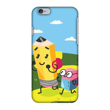 iPhone 6s Case, iPhone 6 Case - Cute Pencil & Eraser,Hard Plastic Back Cover, Slim Profile Cute Printed Designer Snap on Case with Screen Cleaning Kit](Iphone Eraser)