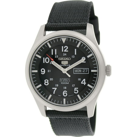 Seiko Black Strap (Men's 5 Automatic SNZG15K Black Nylon Self Wind Fashion Watch )